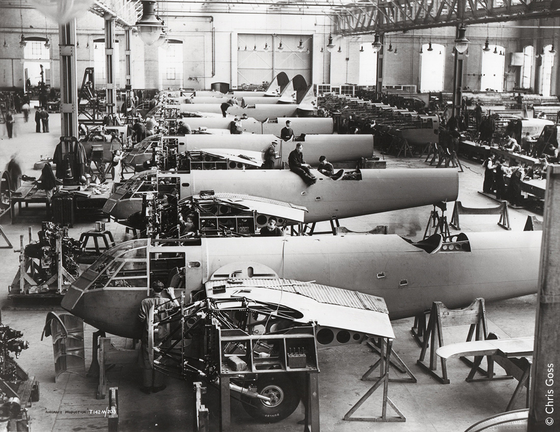 Building the replacements-civilian workers at the Bristol Aeroplane Company finishing off seven Blenheims
