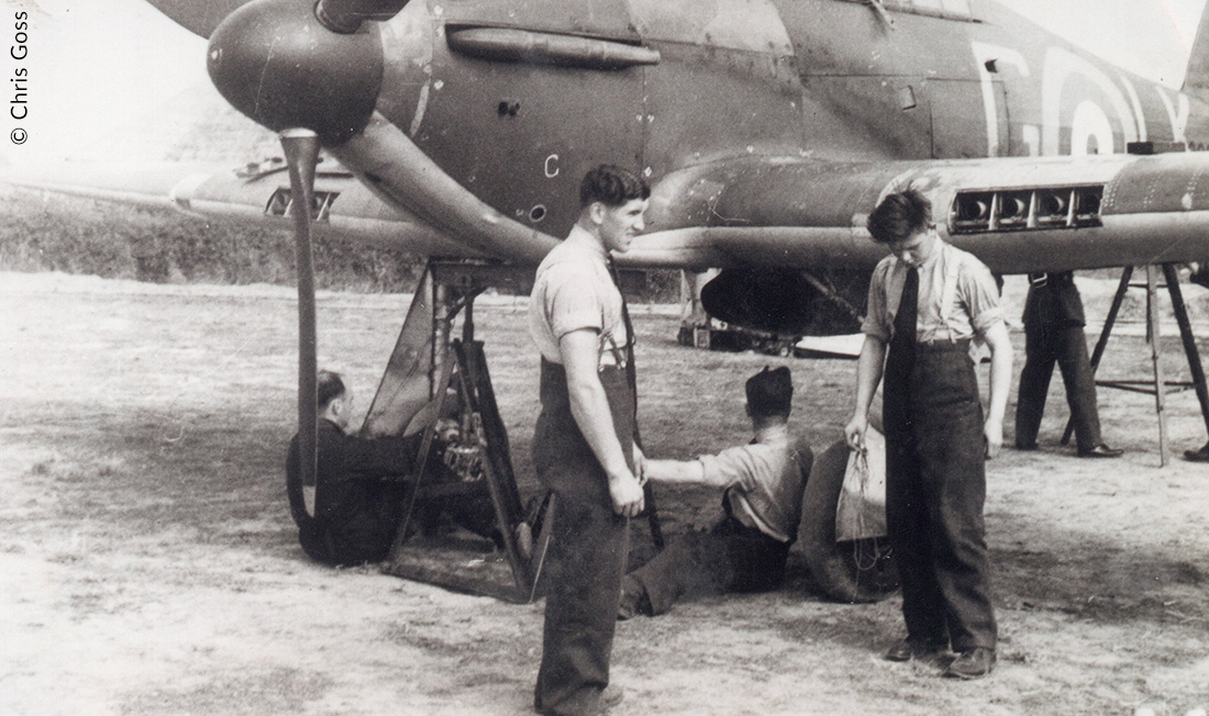Groundcrew working on a Hurricane of 87 Sqn, RAF Exeter, August 1940