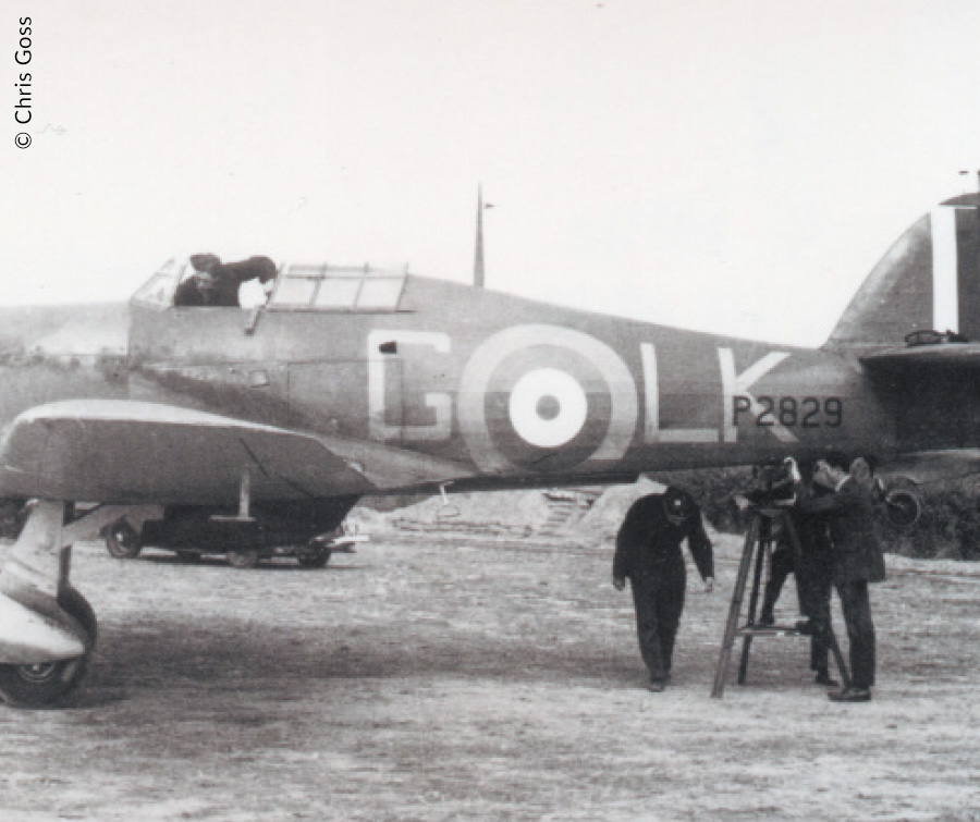 Ground crew working on a Hurricane of 87 Sqn, Exeter, August 1940
