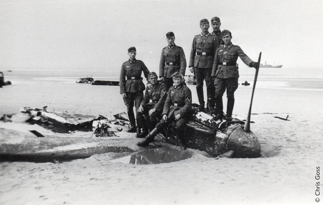Crashed Spitfire on the beach at Dunkirk, June 1940